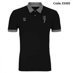 CR7 Black Sports Polo T-Shirt-ESS05