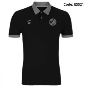 Borussia Dortmund Black Sports Polo T-Shirt-ESS21