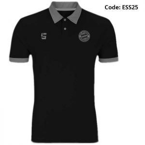 Bayern Munich Black Sports Polo T-Shirt-ESS25