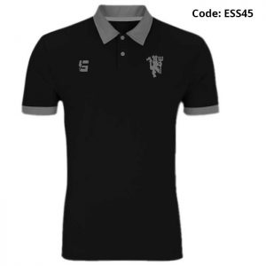 Manchester United Red Devil Black Sports Polo T-Shirt-ESS45