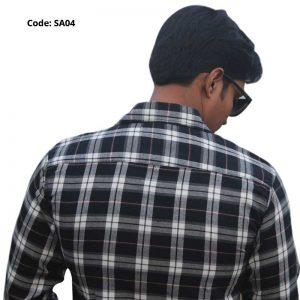 Black White Formal/Casual Cotton Shirt-SA04