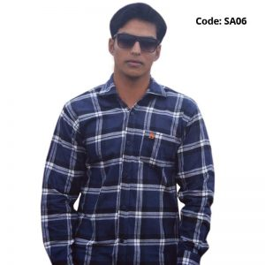 Navy Check Formal/Casual Cotton Shirt-SA06