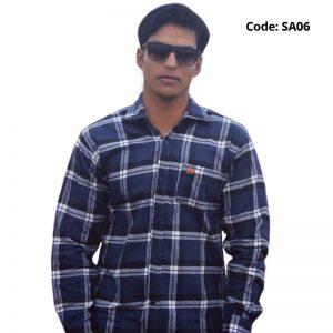 Navy Check Formal/Casual Cotton Shirt-SA06