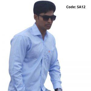 Plain Blue Formal/Casual Cotton Shirt-SA12