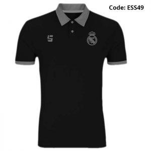 Real Madrid Black Sports Polo T-Shirt-ESS49