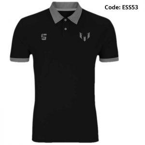 Messi Classic Logo Black Sports Polo T-Shirt-ESS53