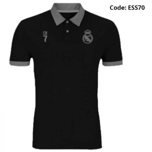 Real Madrid - CR7 Black Sports Polo T-Shirt (Special Edition)-ESS70
