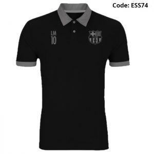 Barcelona - LM10 Special Black Sports Polo T-Shirt (Special Edition)-ESS74