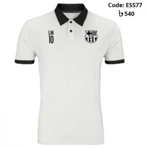 Barcelona - LM10 Special White Sports Polo T-Shirt (Special Edition)-ESS77