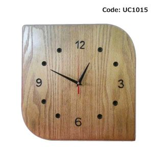 Wooden Wall Clock Round Corner