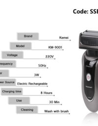Kemei KM-9001 3 Heads Electronic Rechargeable Shaver Triple Blade For Men