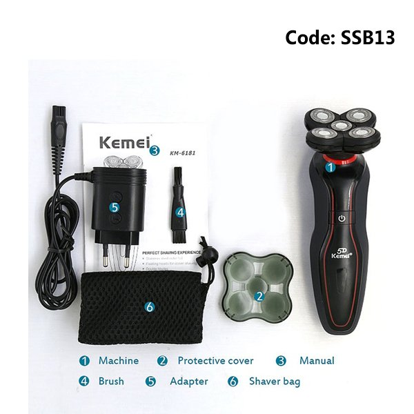 Kemei KM-6181 Men Electric Shavers,Nose,Ear Trimmer & Sideburns Head, Brand 5D Floating Hair Razor Shaving Machine