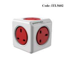 Allocacoc 3pin 7120RD 5 Port Red Power Cube - ITL5602