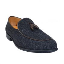 Belgian Tassel Loafer In Exotic Fabric By AaZuBa