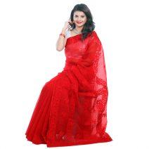 Classic Boutique Pure Red Muslin Silk Saree 962