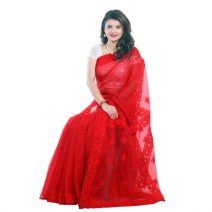 Classic Boutique Pure Red Muslin Silk Saree 963