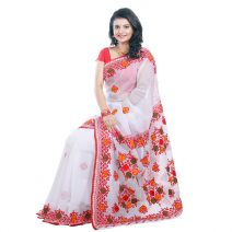 Classic Boutique Pure Red Muslin Silk Saree 971