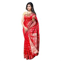 Mirpur Jamdani Gorgeous Party Red Silk Sharee By eShoppingBD