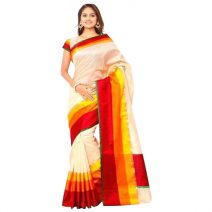 Indian Gorgeous White with Yellow And Red Silk Sharee By eShoppingBD