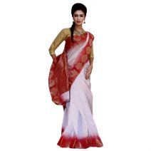 Mirpur Jamdani Traditional White With Red Silk Saree By eShoppingBD