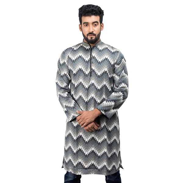 Lavelux Men's Multi-color All Over Orop Print with Contrasted Collar Slap Cotton Panjabi