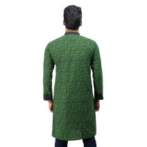 Lavelux Men's Green & Black Digital Print with Contrasted Collar, Placket & Sleeve Cuff Pure Cotton Panjabi