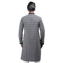 Lavelux Men's Black & White Floral Print with Contrasted Collar and Cuff Cotton Panjabi