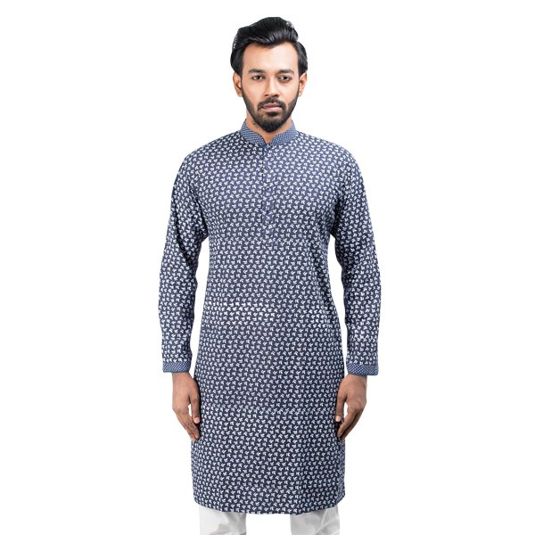 Lavelux Men's Light Blue All Over Print with Contrasted Collar, Placket, Sleeve Cotton Panjabi