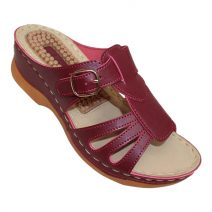 Louis Dollars Maroon Design Medical Soft Sandal By Armansbazar