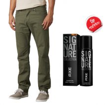 Stylish Export Quality Olive Casual Men's Gabardine Pant With Free AXE Perfume