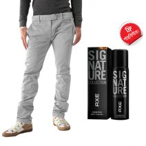 Stylish Export Quality Light Ash Casual Men's Gabardine Pant With Free AXE Perfume