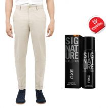Export Quality Off White Casual Men's Gabardine Pant With Free AXE Perfume