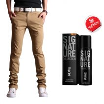 Export Quality Khaki Casual Men's Gabardine Pant With Free AXE Perfume