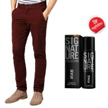 Export Quality Maroon Casual Men's Gabardine Pant With Free AXE Perfume