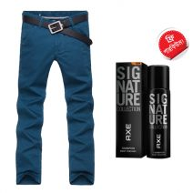 Export Quality Blue Casual Men's Gabardine Pant With Free AXE Perfume