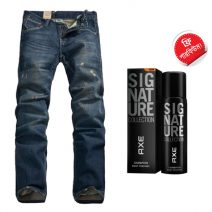 Denim Export Quality Stylish Deep Jeans Shadow Detached Casual Men's Jeans With Free AXE Perfume