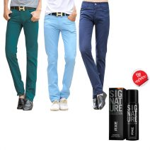 Denim Export Quality Stylish Combo Men's Casual Gabardine Pant With Free AXE Perfume