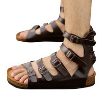 Brown Leather Men's Sandals Hip Hop-07 By AlexshopBD