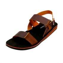 Black With Brown Belt Leather Men's Sandals Lively-47 By AlexshopBD