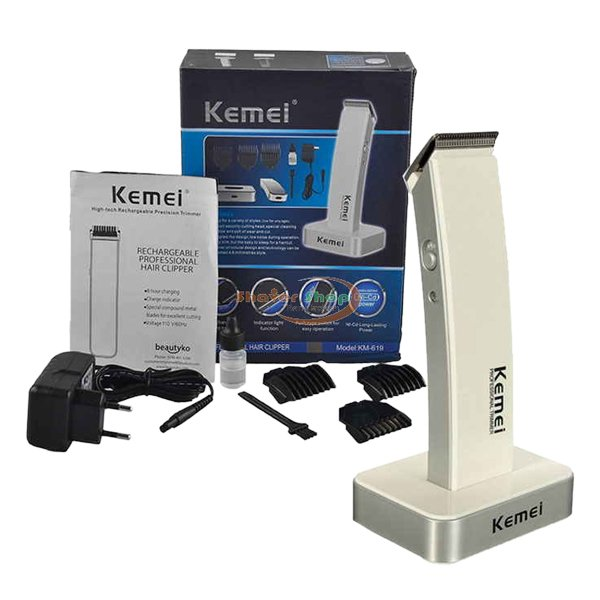 KM-619 Kemei New Original Exclusive Rechargeable Hair Trimmer With Clipper For Men - White