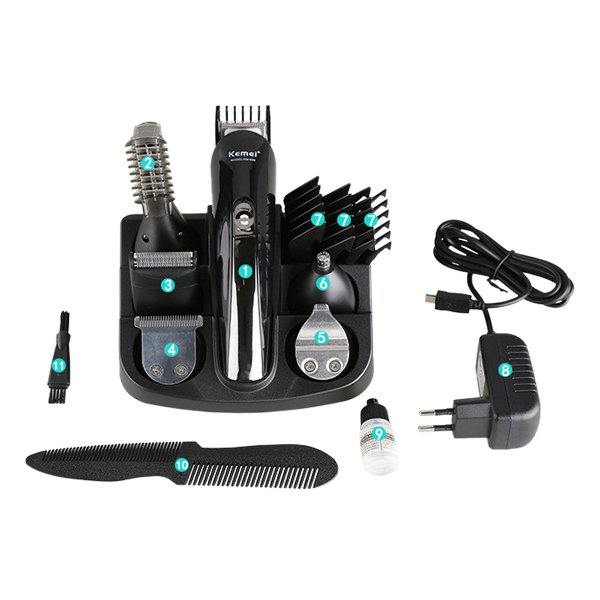 Kemei Original Rechargeable 11 in 1 Hair Trimmer-Shaver-Hair ClipperStyling-NoseTrimmer KM-600