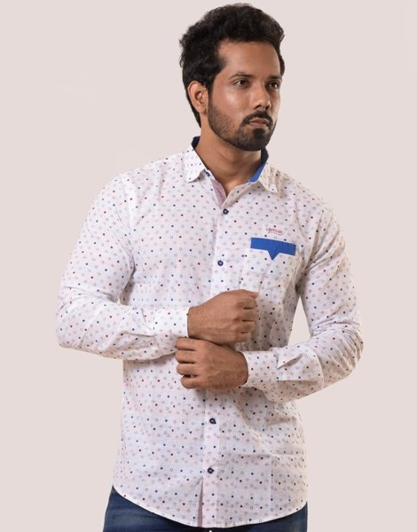 Lavelux Men's Multi-color Long Sleeve Soft Cotton Casual Shirt with Printed Shirt Stylish Pocket LMCS160
