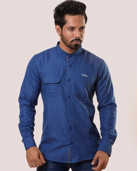 Lavelux Men's Blue Long Sleeve Soft Cotton Casual Shirt with Solid Placket Design Contrast LMCS162