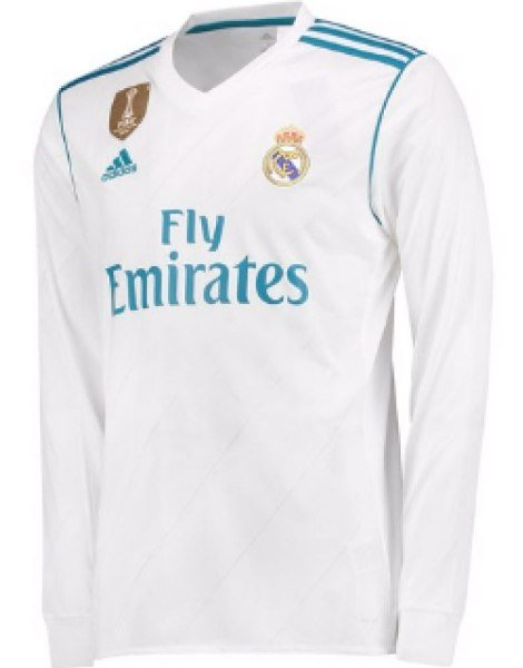 2017-18 Real Madrid Home Club Jersey full Sleeve Only Jersey
