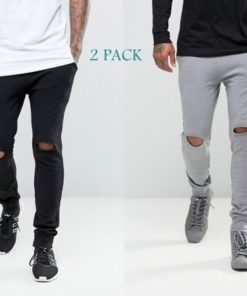 Lakbuas Men's Super Skinny Combo Pack Black And Gray Rib Trouser RTP-065