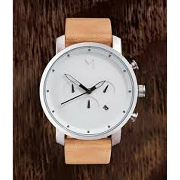Patented Leather Band MVMT Gents Wrist Watch Date Viewer White Dial