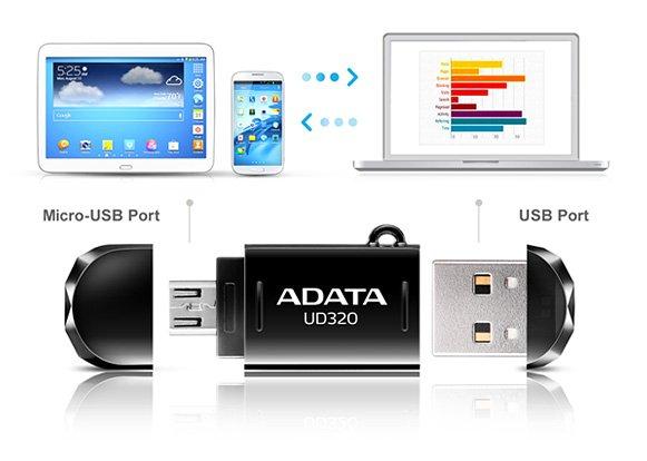 ADATA OTG Pen Drive DashDrive Durable UD320 USB Flash Drive - (16GB, USB2.0, UD320)