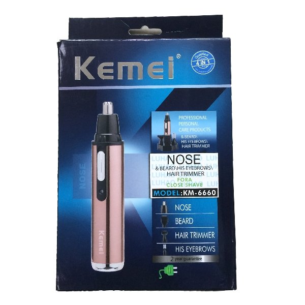 Kemei KM-6660 4 In 1 Electric Nose Hair Trimmer Shaver Blade Sideburns Razor Eyebrows Trimmer for Nose Cutter Personal Trimmer