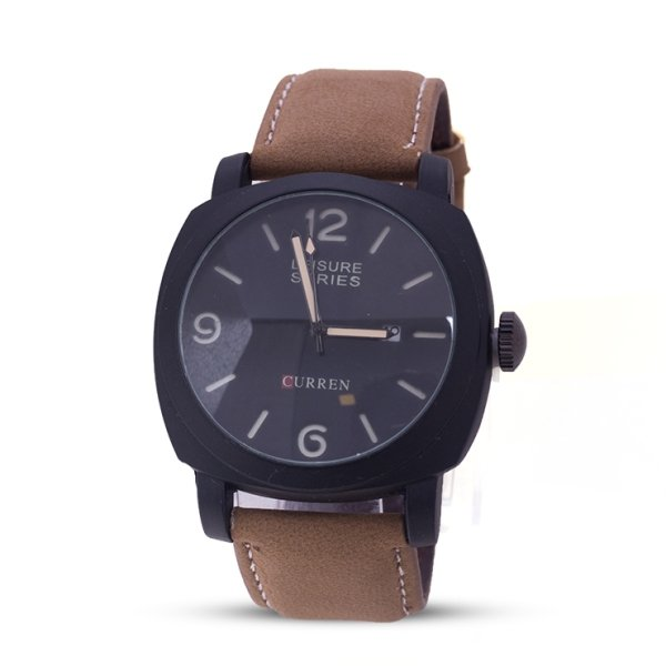 Curren Leisure Series Analog Brown Color Leather Band Stainless Steel Dial Watch for Men