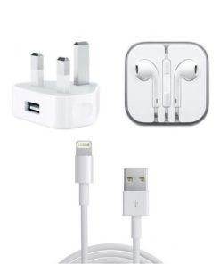 Combo Pack of Data Cable, Charger Adapter and Earphone For iPhone - White